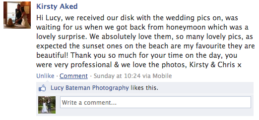 wedding photography whitstable testimonial